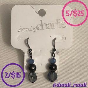 Charming Charlie Rock Chic Blue Light Earrings NOC